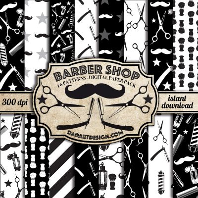 Barber Shop Vintage Pattern digital paper pack