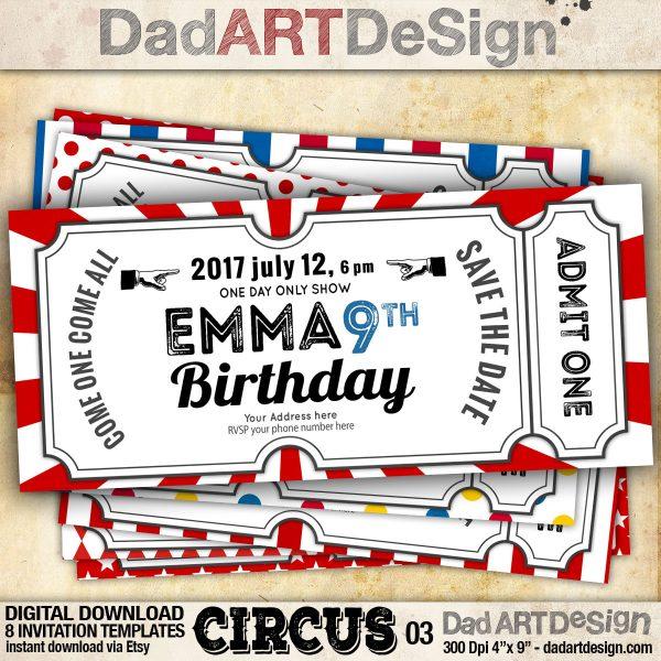 Circus 3! invitation template