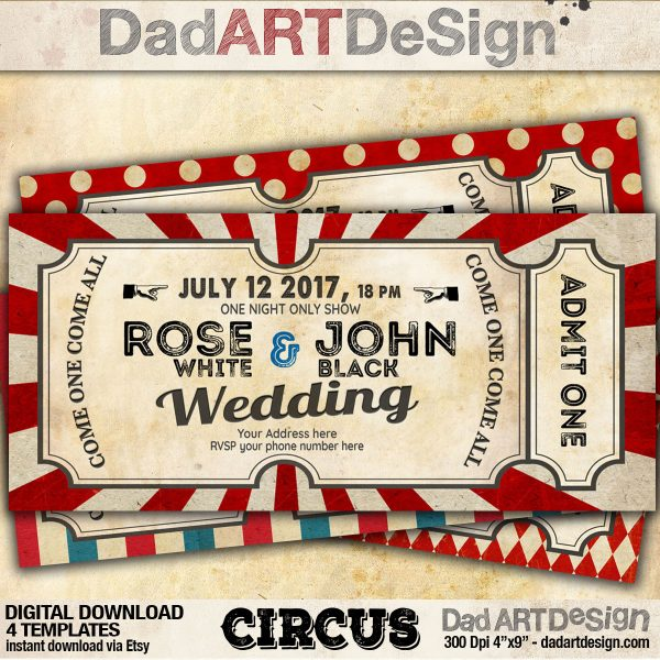 Circus Card Templates for your wedding, birthday and other events