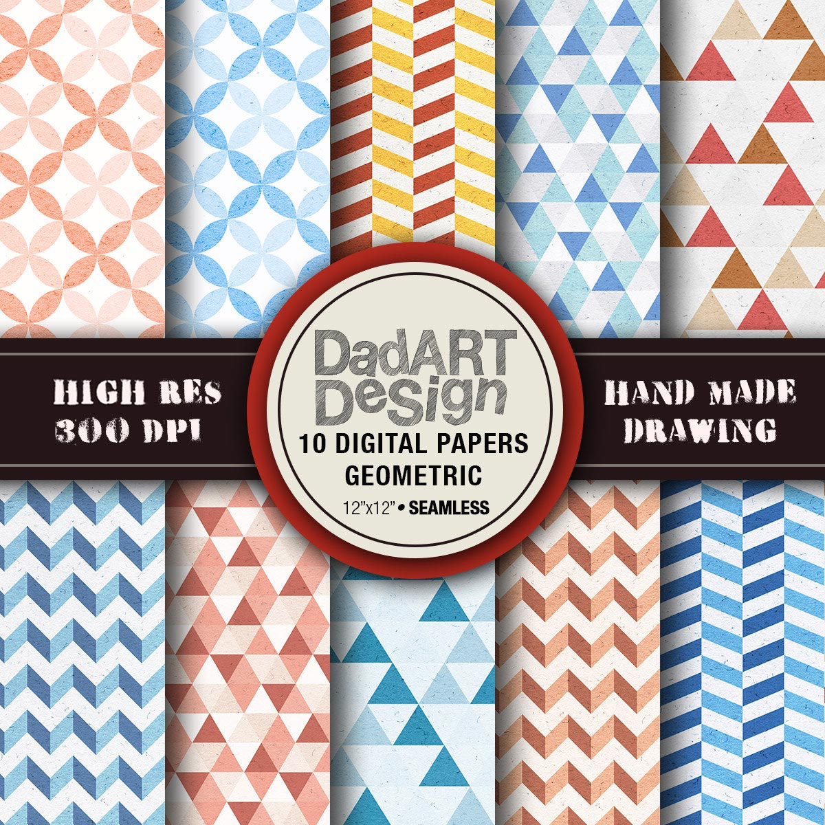 10 Geometric Patterns Digital Paper pack