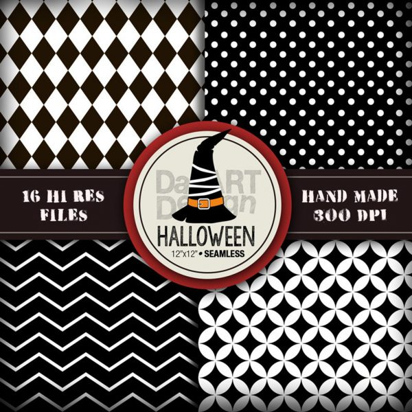 Halloween Black and white Digital Paper Pack