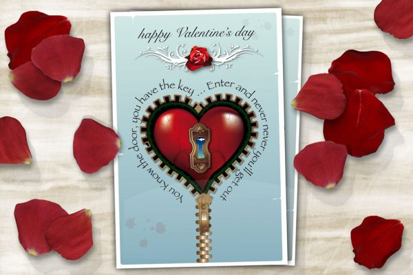 Blue Steampunk Valentine's day printable card