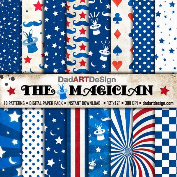 The Magician - Digital Paper Pack - 18 Vintage Patterns