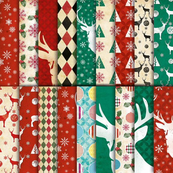 Retro Christmas Digital Paper Pack
