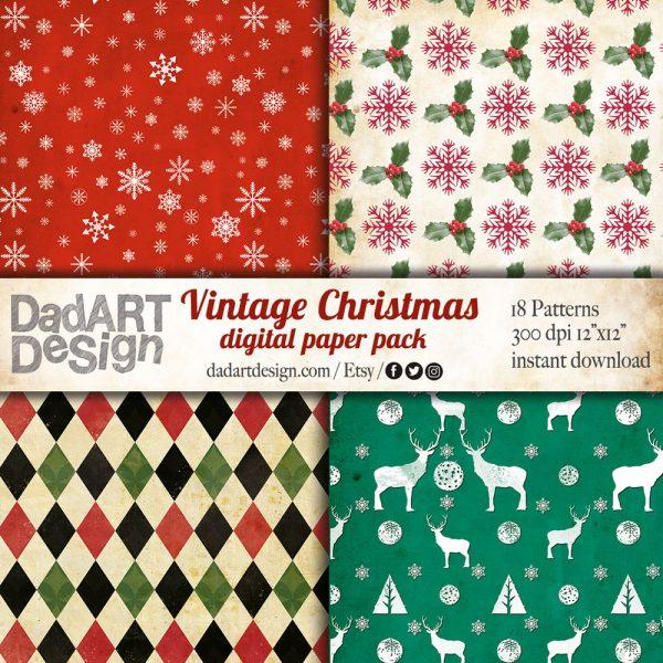 Vintage Christmas Digital Paper Pack