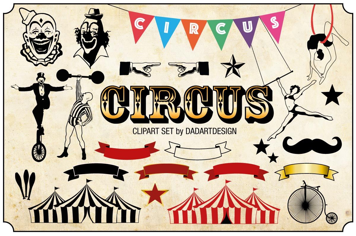 Vintage Circus Clipart Collection