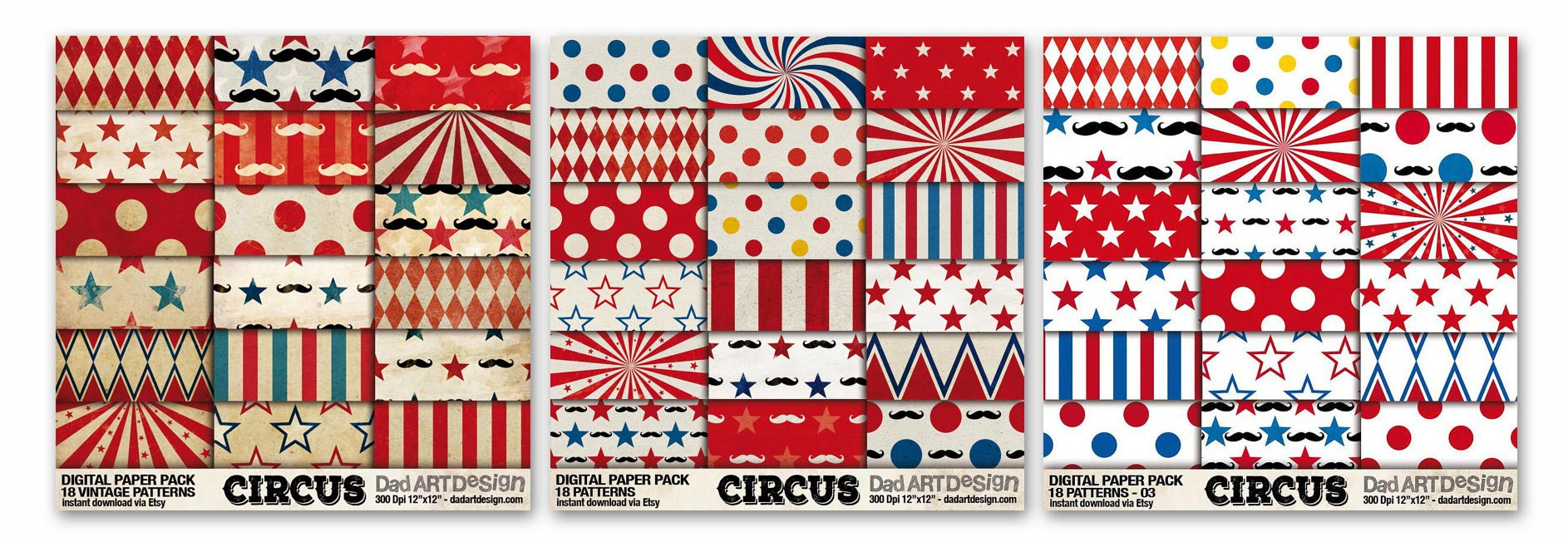 3 Circus Patterns digitalpaper package in bundle